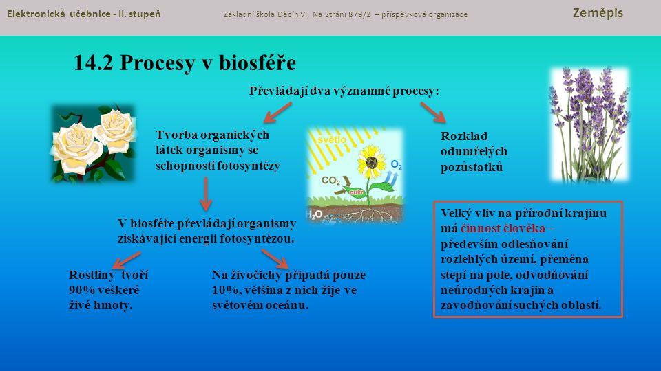 14.2 Procesy v biosféře Převládají dva významné procesy: