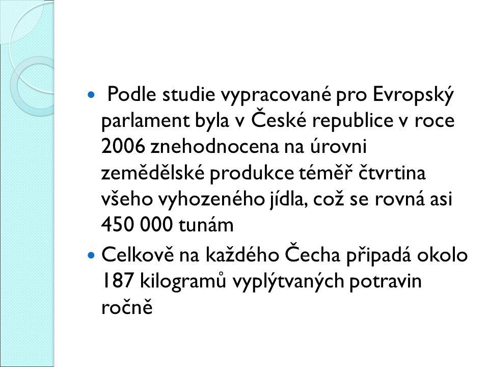 Podle studie vypracované pro Evropský parlament byla v České republice v roce 2006 znehodnocena na úrovni zemědělské produkce téměř čtvrtina všeho vyhozeného jídla, což se rovná asi 450 000 tunám