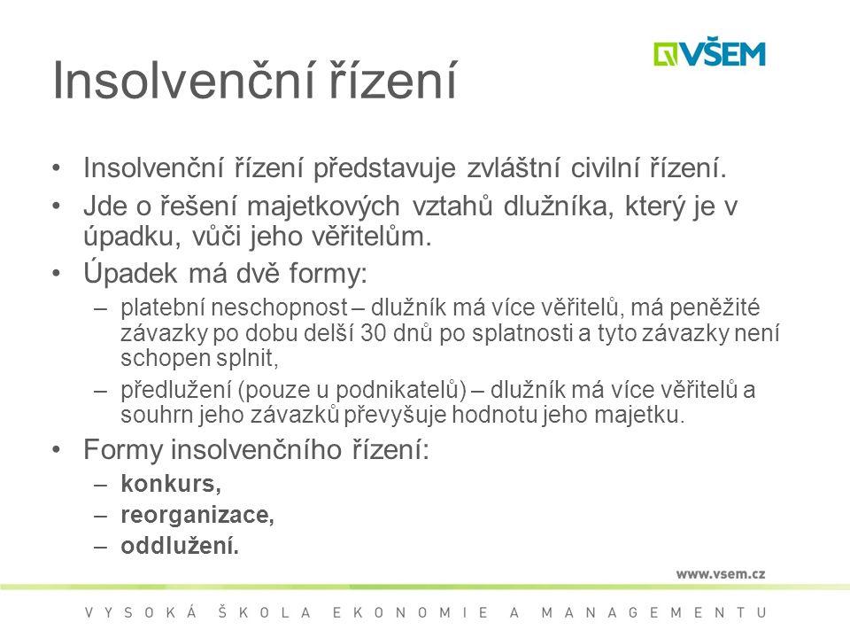 Insolvenční řízení Insolvenční řízení představuje zvláštní civilní řízení.