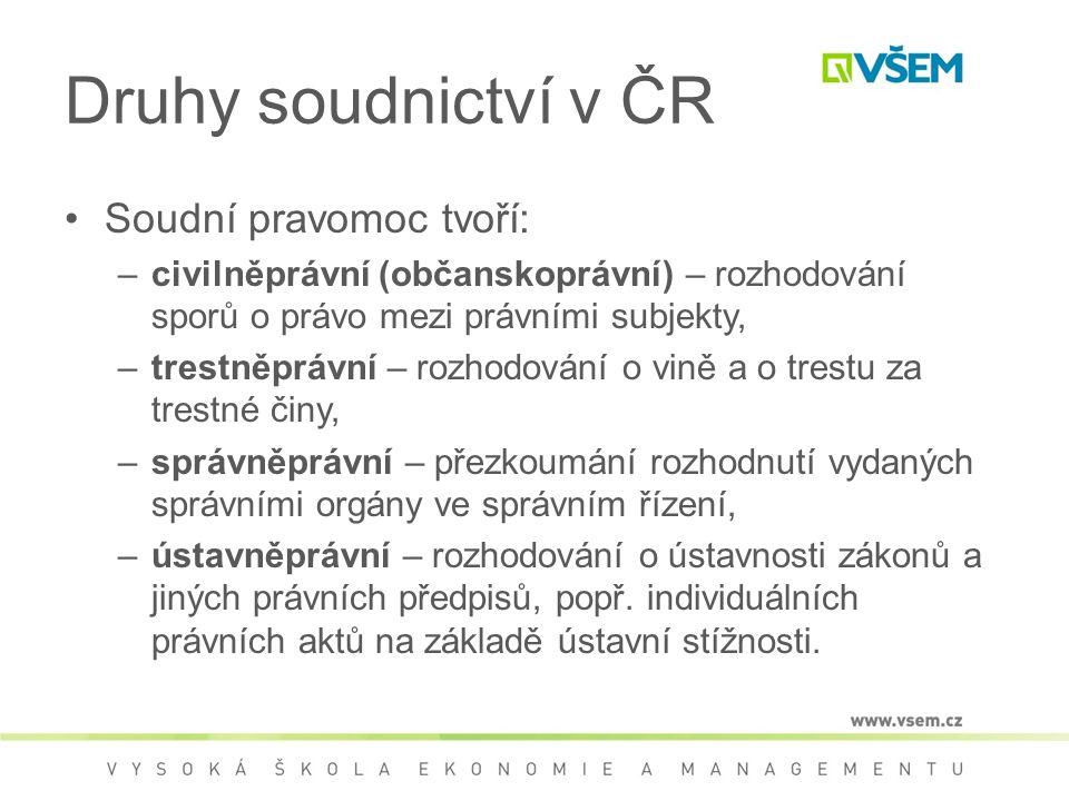 Druhy soudnictví v ČR Soudní pravomoc tvoří: