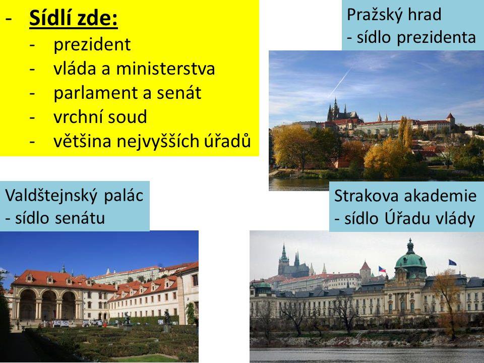 Sídlí zde: prezident vláda a ministerstva parlament a senát