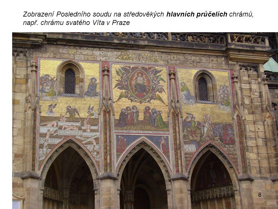 Zobrazení Posledního soudu na středověkých hlavních průčelích chrámů, např.