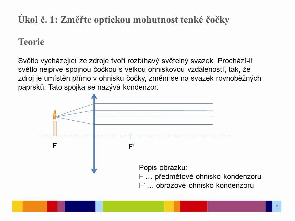 Úkol č. 1: Změřte optickou mohutnost tenké čočky
