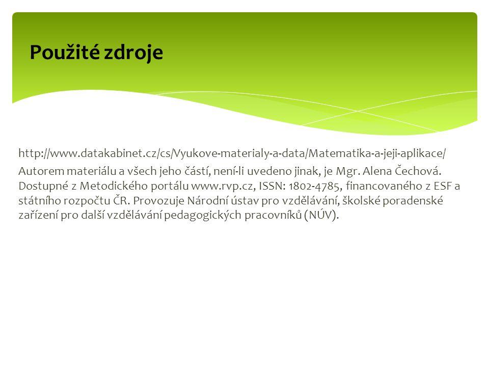 Použité zdroje http://www.datakabinet.cz/cs/Vyukove-materialy-a-data/Matematika-a-jeji-aplikace/