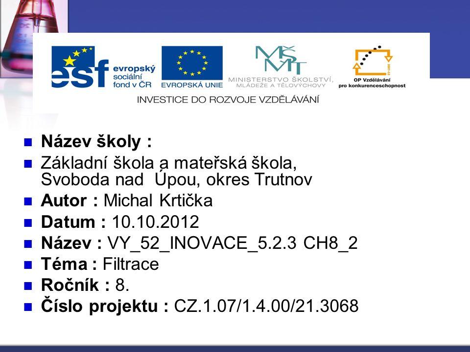Název školy : Základní škola a mateřská škola, Svoboda nad Úpou, okres Trutnov.