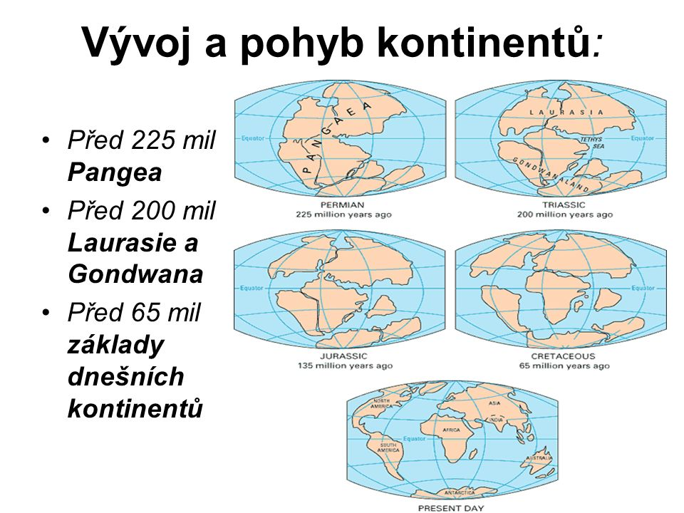 Vývoj a pohyb kontinentů: