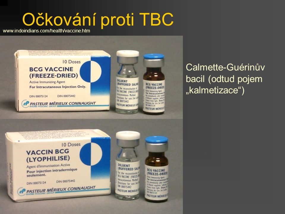 """Očkování proti TBC Calmette-Guérinův bacil (odtud pojem """"kalmetizace )"""