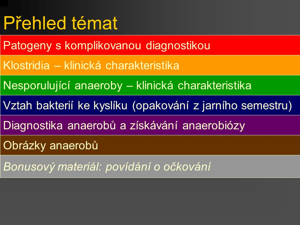 Přehled témat Patogeny s komplikovanou diagnostikou
