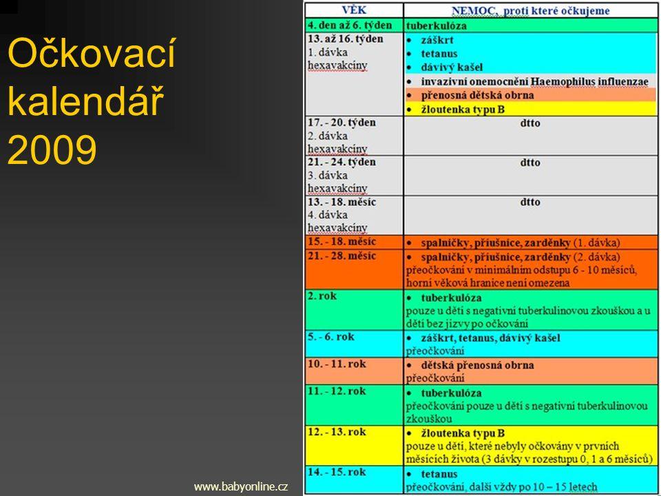 Očkovací kalendář 2009 www.babyonline.cz