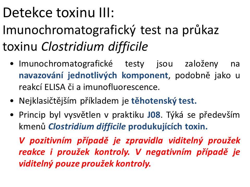 Detekce toxinu III: Imunochromatografický test na průkaz toxinu Clostridium difficile
