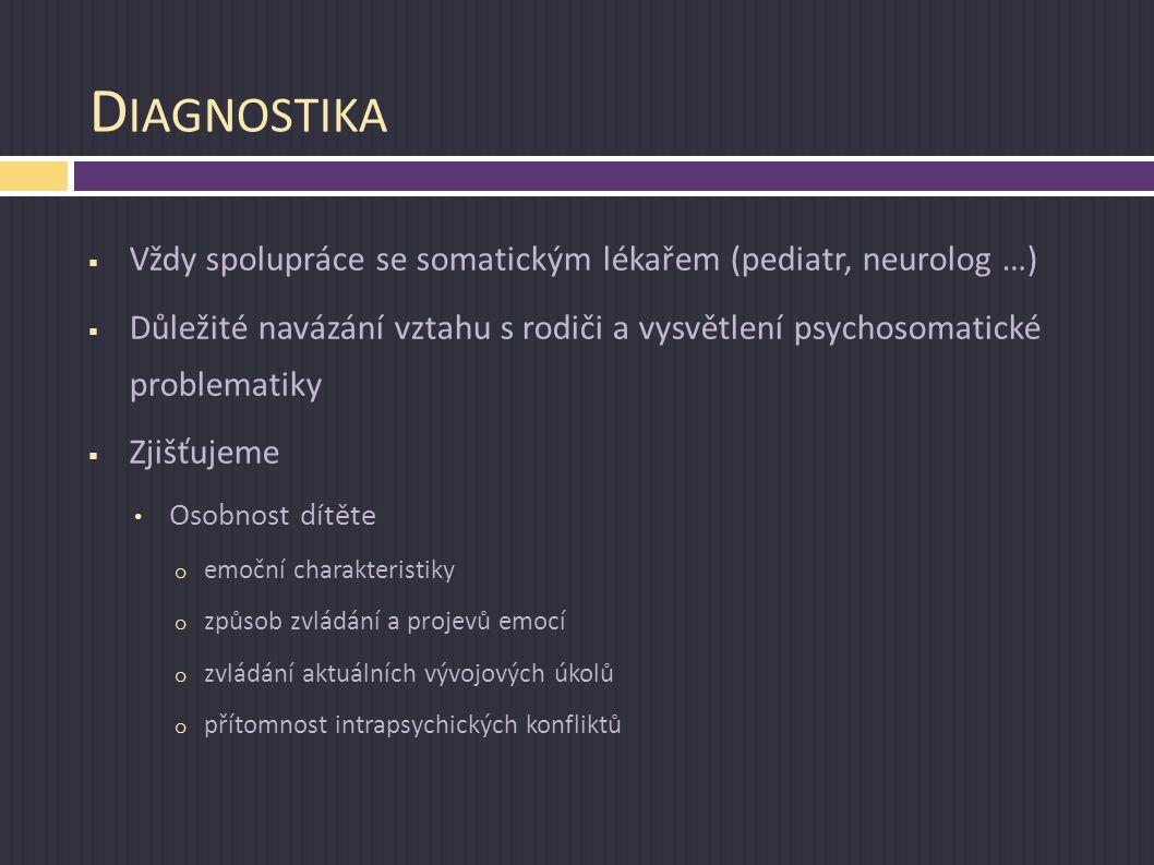 Diagnostika Vždy spolupráce se somatickým lékařem (pediatr, neurolog …) Důležité navázání vztahu s rodiči a vysvětlení psychosomatické problematiky.