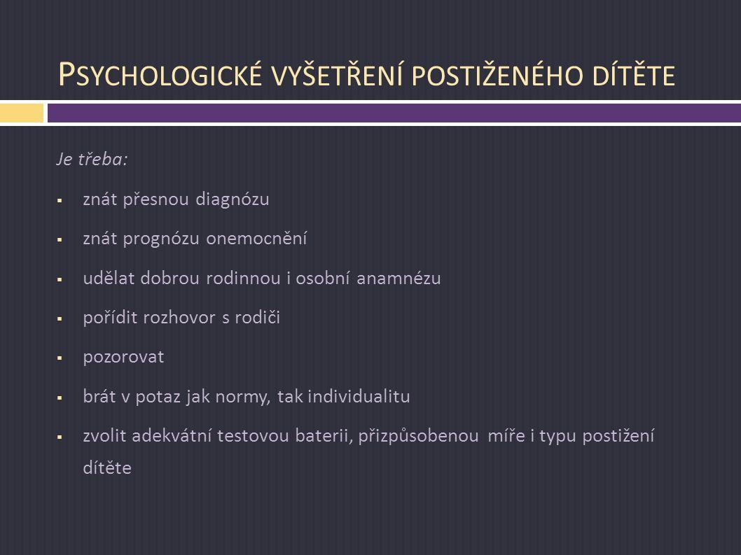 Psychologické vyšetření postiženého dítěte