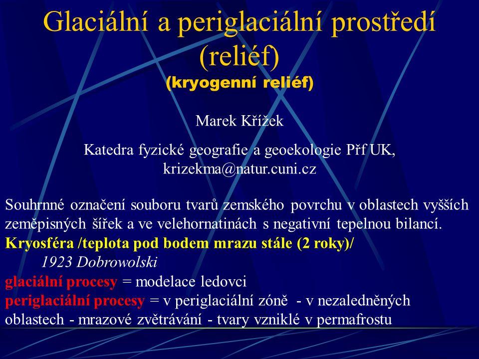 Glaciální a periglaciální prostředí (reliéf) (kryogenní reliéf)