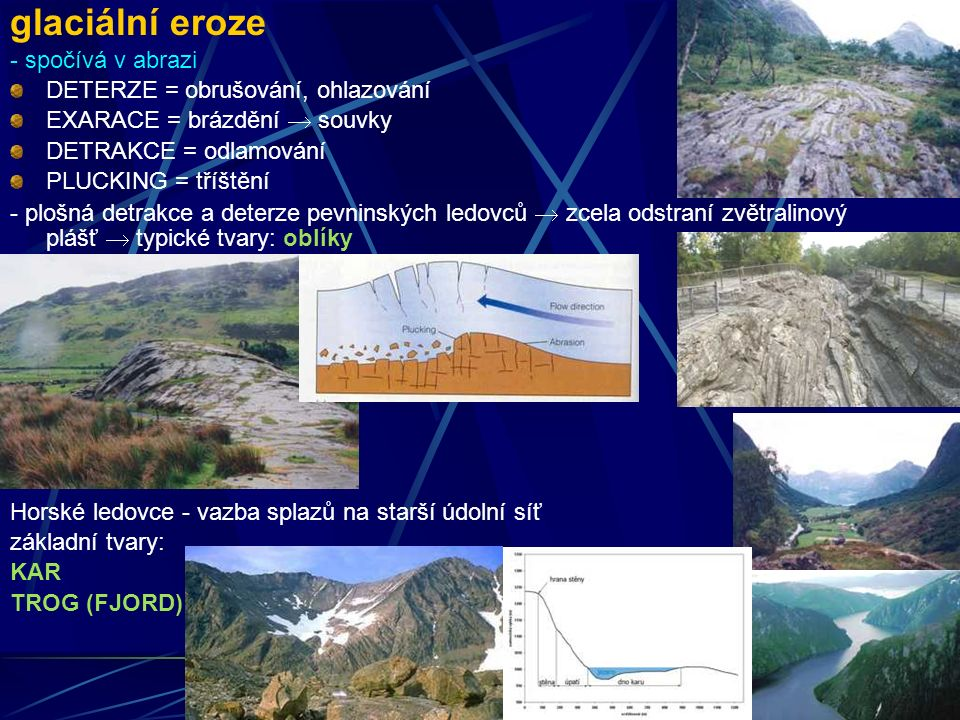 glaciální eroze - spočívá v abrazi DETERZE = obrušování, ohlazování