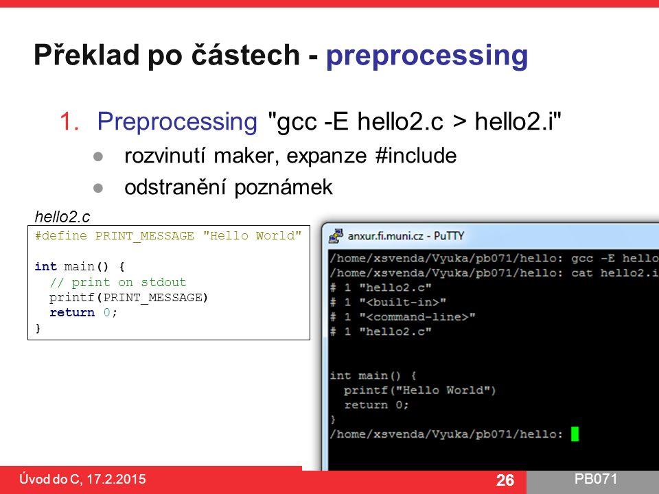 Překlad po částech - preprocessing