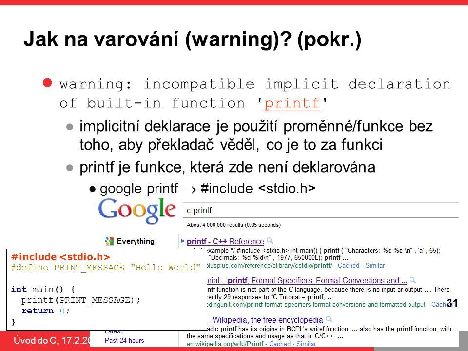 Jak na varování (warning) (pokr.)