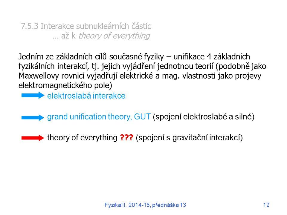 7.5.3 Interakce subnukleárních částic … až k theory of everything