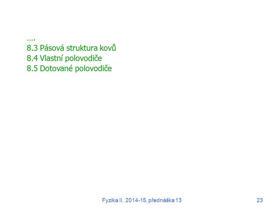 …. 8.3 Pásová struktura kovů 8.4 Vlastní polovodiče