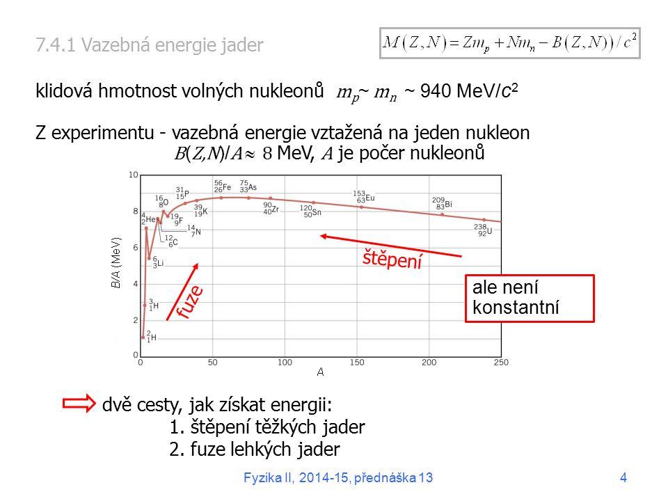 klidová hmotnost volných nukleonů mp~ mn ~ 940 MeV/c2