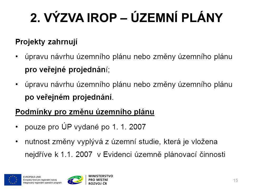 2. výzva IROP – Územní plány