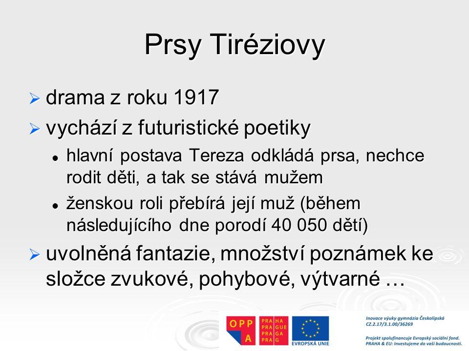 Prsy Tiréziovy drama z roku 1917 vychází z futuristické poetiky