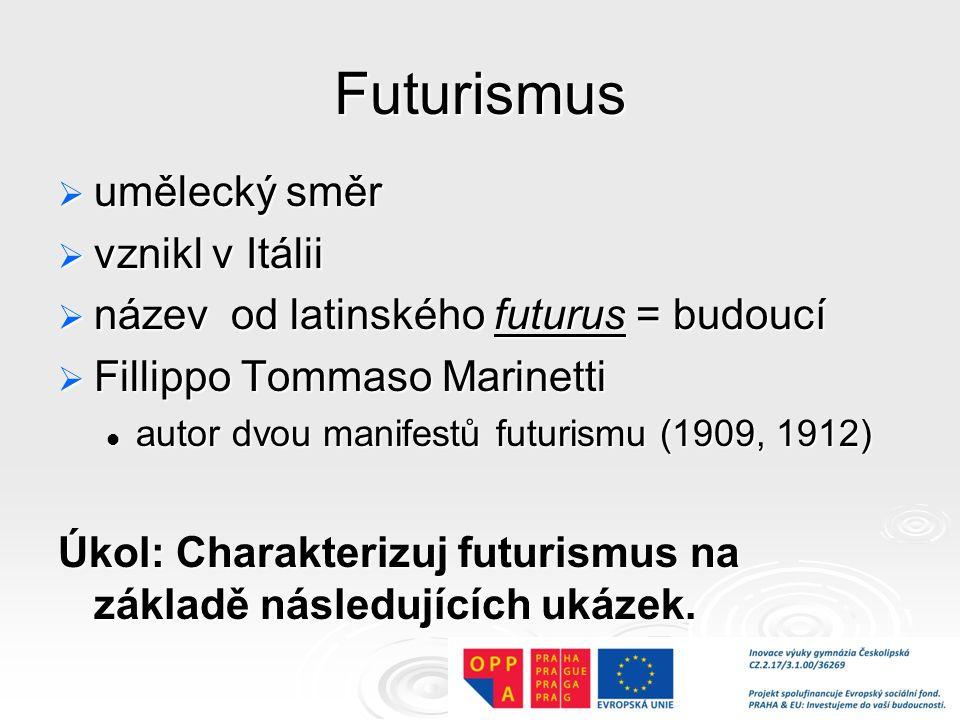 Futurismus umělecký směr vznikl v Itálii