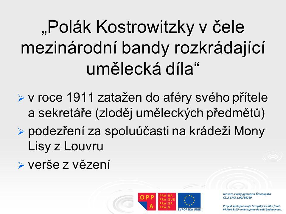 """""""Polák Kostrowitzky v čele mezinárodní bandy rozkrádající umělecká díla"""