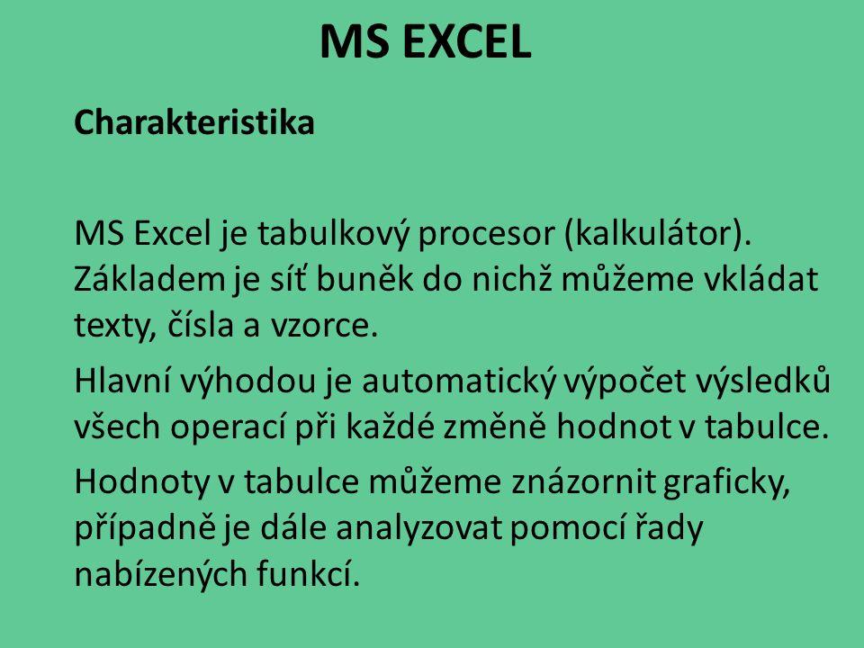 MS EXCEL Charakteristika