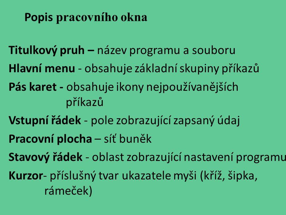 Popis pracovního okna Titulkový pruh – název programu a souboru. Hlavní menu - obsahuje základní skupiny příkazů.