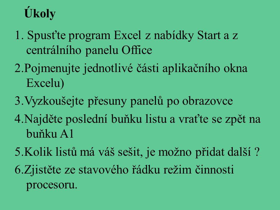 Úkoly 1. Spusťte program Excel z nabídky Start a z centrálního panelu Office. 2.Pojmenujte jednotlivé části aplikačního okna Excelu)
