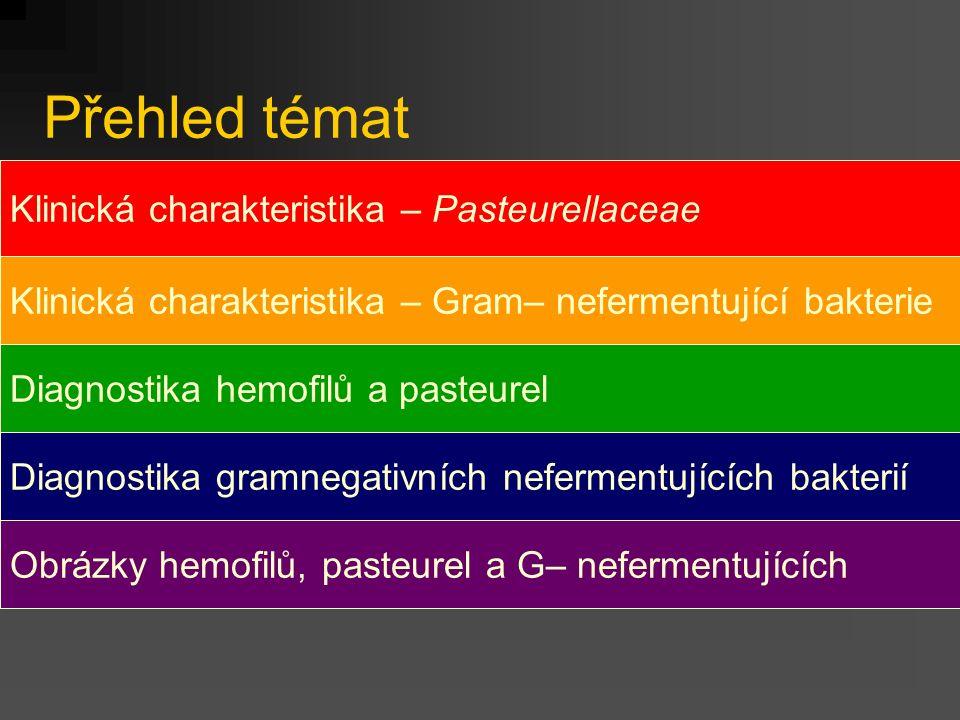 Přehled témat Klinická charakteristika – Pasteurellaceae