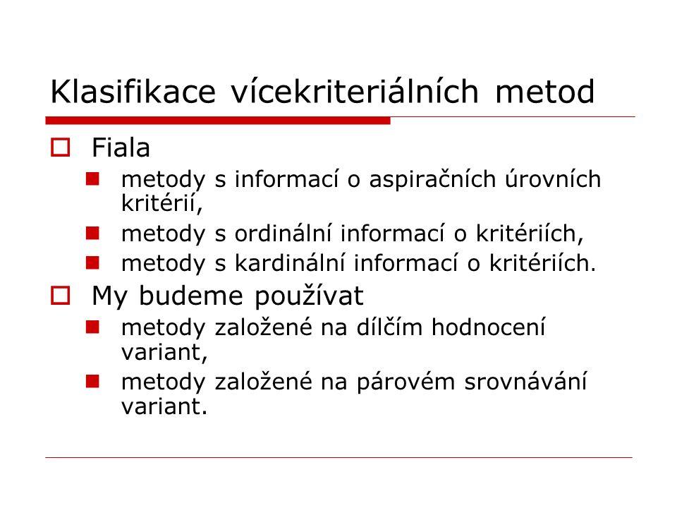 Klasifikace vícekriteriálních metod