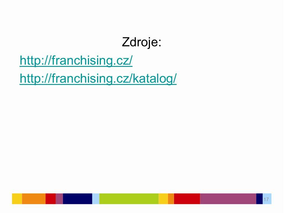 Zdroje: http://franchising.cz/ http://franchising.cz/katalog/