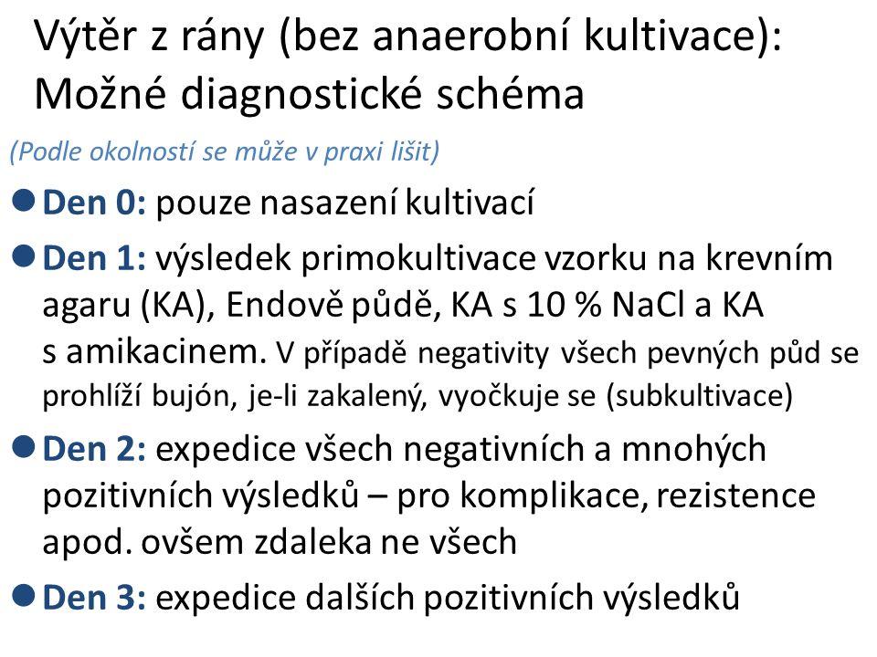 Výtěr z rány (bez anaerobní kultivace): Možné diagnostické schéma