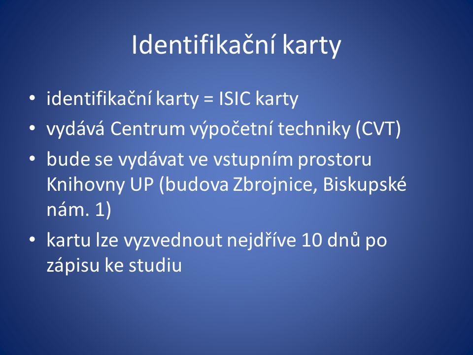 Identifikační karty identifikační karty = ISIC karty