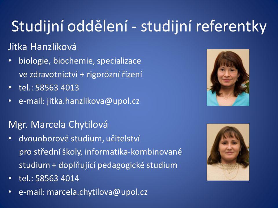 Studijní oddělení - studijní referentky