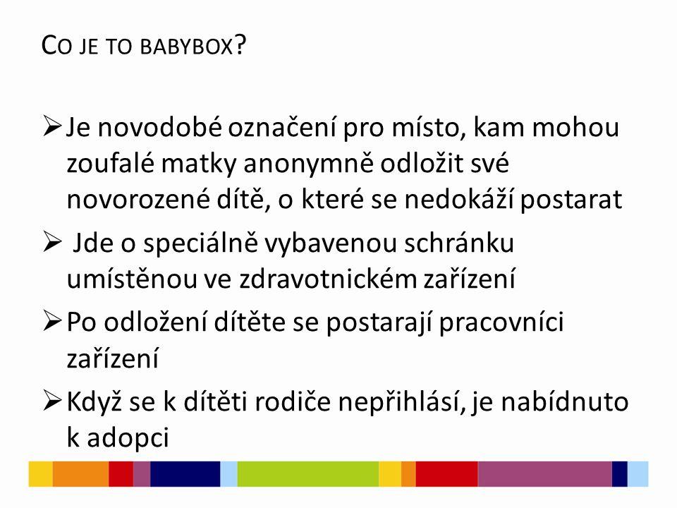 Co je to babybox Je novodobé označení pro místo, kam mohou zoufalé matky anonymně odložit své novorozené dítě, o které se nedokáží postarat.