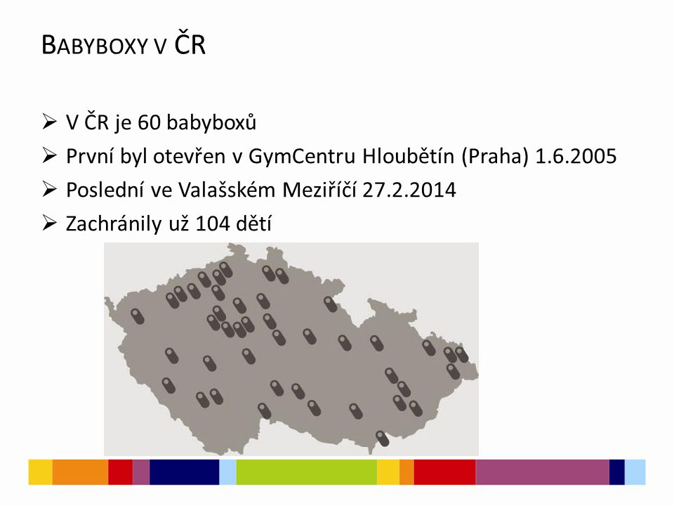 Babyboxy v ČR V ČR je 60 babyboxů