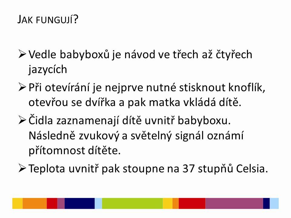 Jak fungují Vedle babyboxů je návod ve třech až čtyřech jazycích