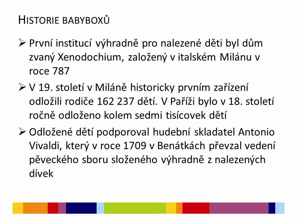 Historie babyboxů První institucí výhradně pro nalezené děti byl dům zvaný Xenodochium, založený v italském Milánu v roce 787.
