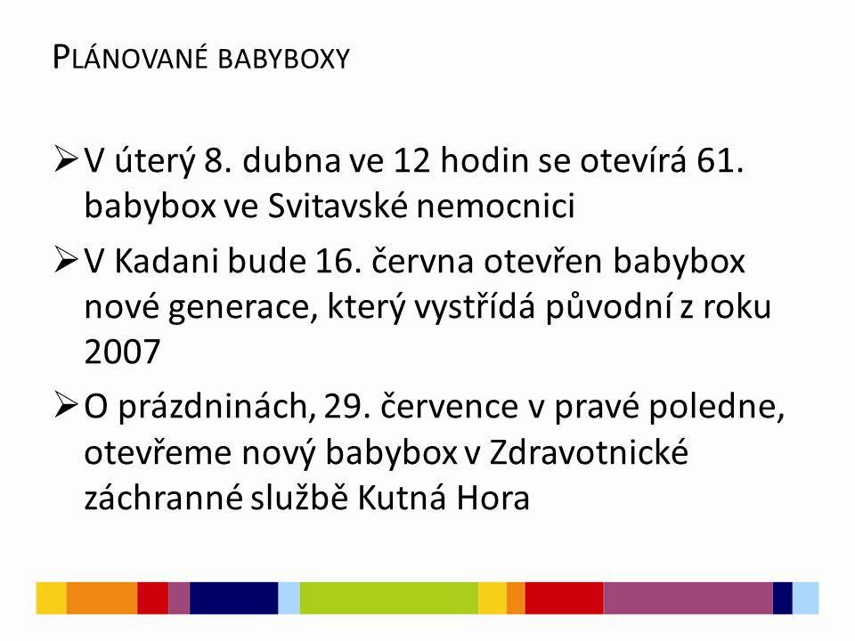 Plánované babyboxy V úterý 8. dubna ve 12 hodin se otevírá 61. babybox ve Svitavské nemocnici.