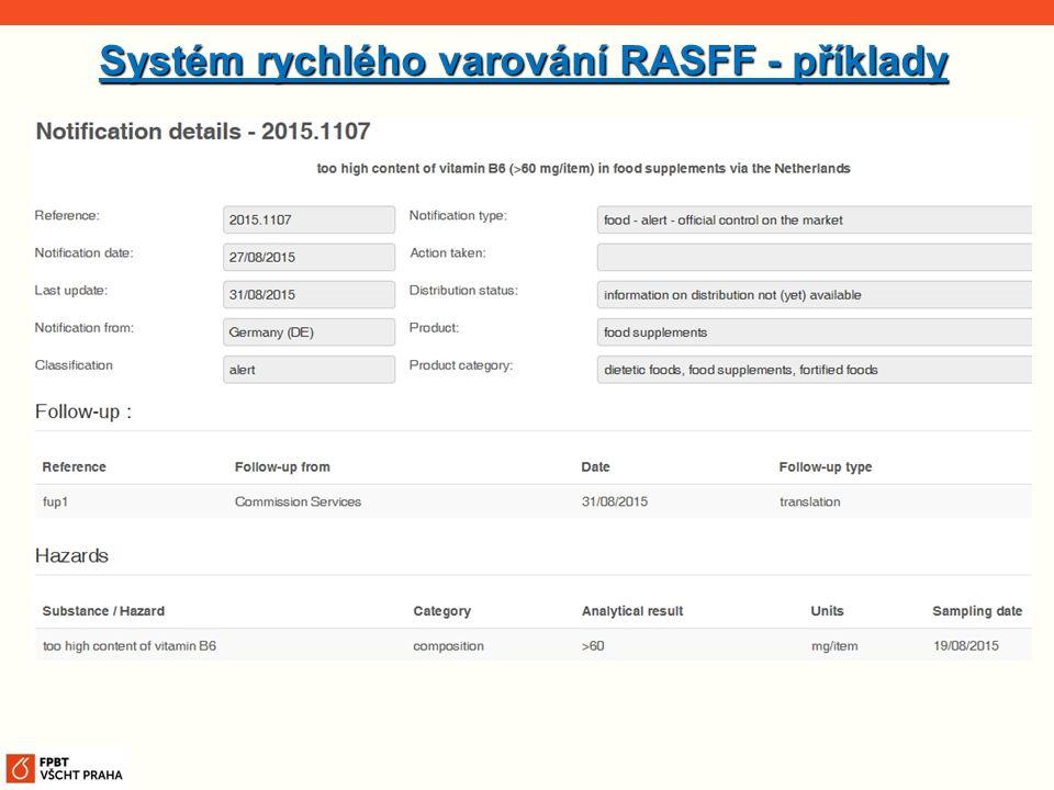 Systém rychlého varování RASFF - příklady