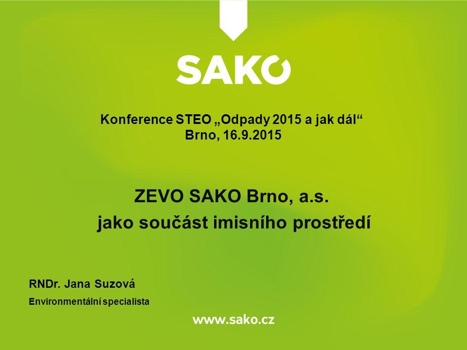 ZEVO SAKO Brno, a.s. jako součást imisního prostředí