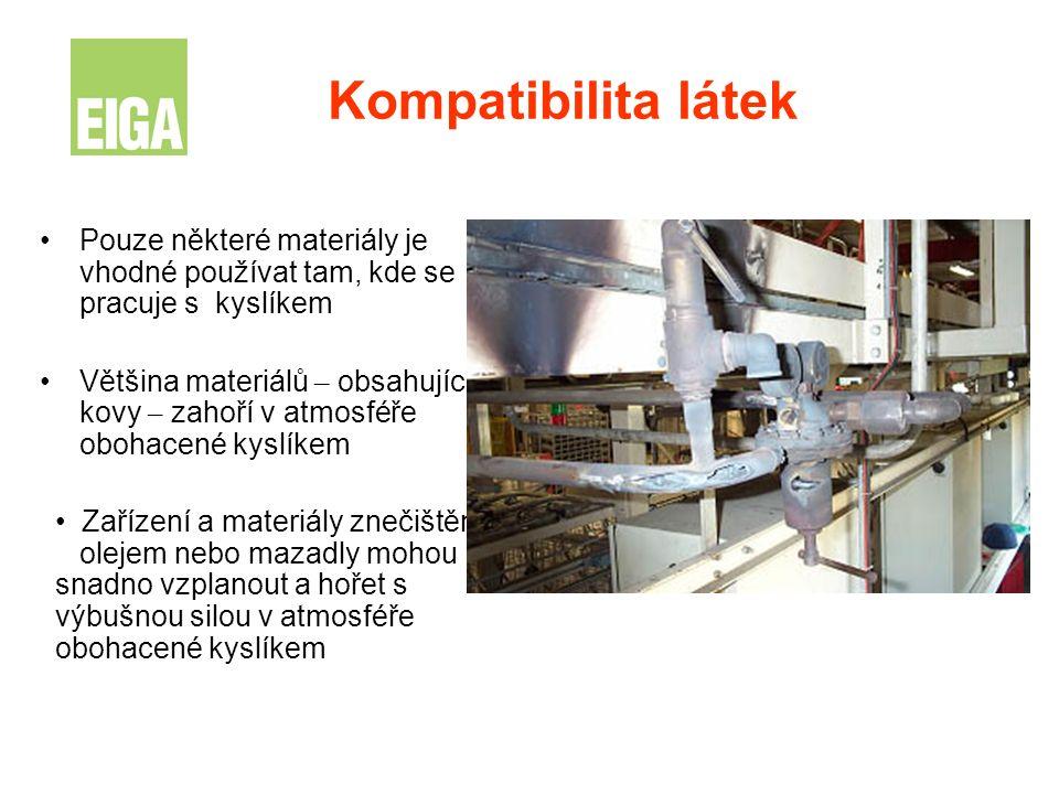 Kompatibilita látek Pouze některé materiály je vhodné používat tam, kde se pracuje s kyslíkem.