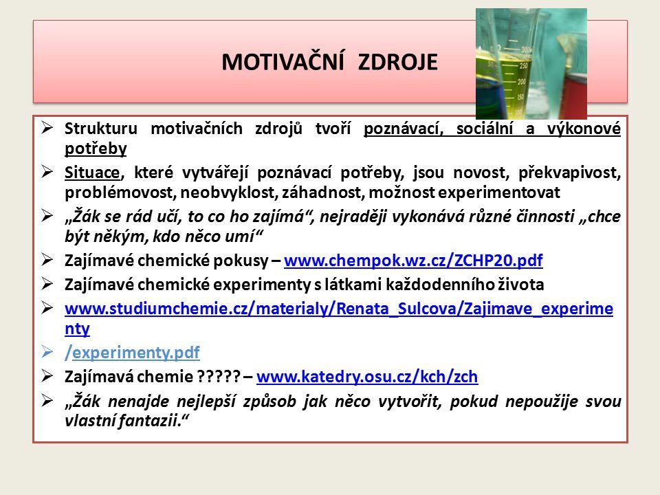 MOTIVAČNÍ ZDROJE Strukturu motivačních zdrojů tvoří poznávací, sociální a výkonové potřeby.