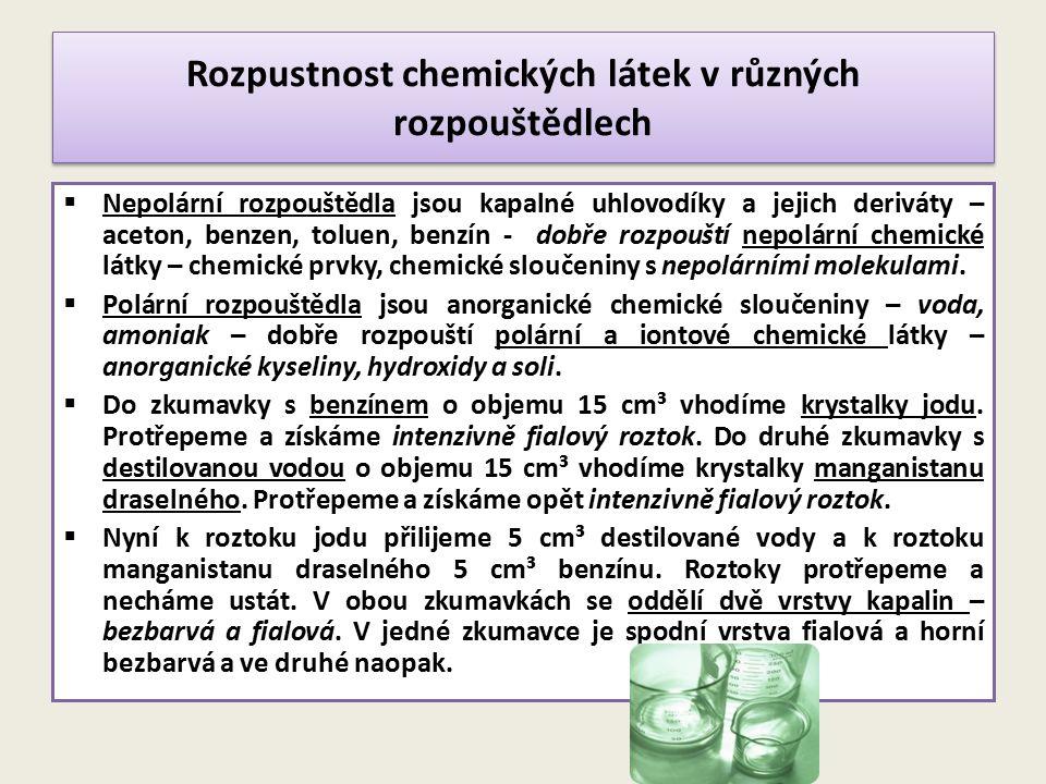 Rozpustnost chemických látek v různých rozpouštědlech