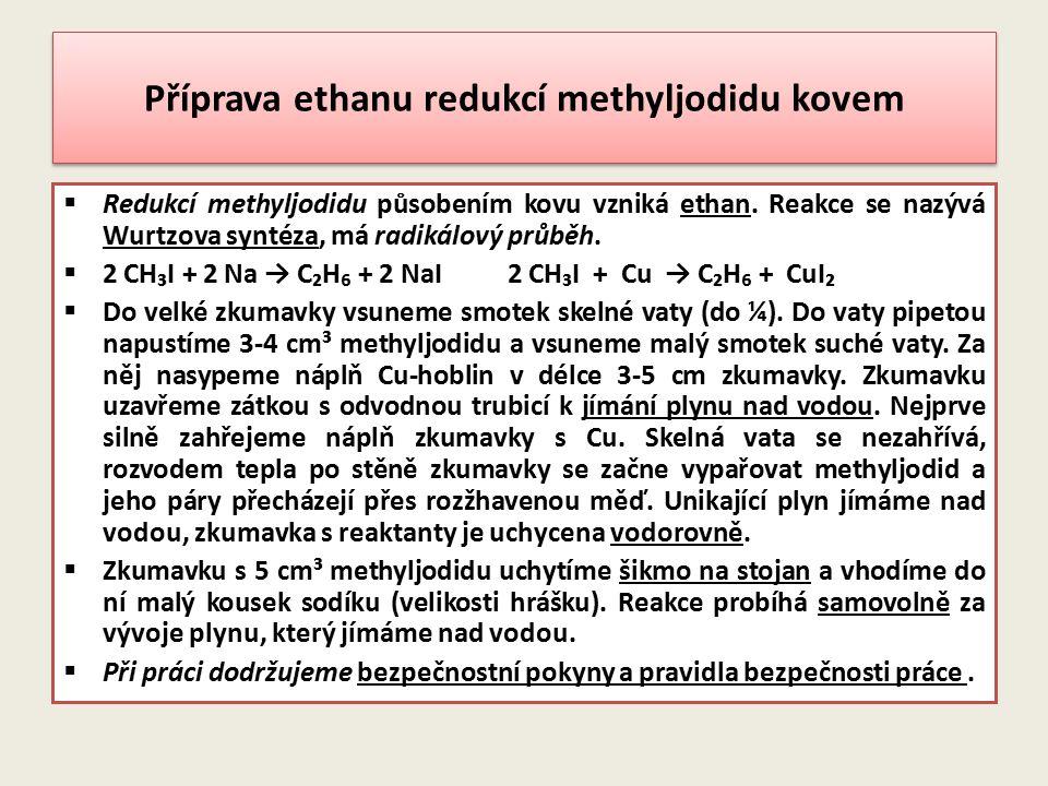 Příprava ethanu redukcí methyljodidu kovem