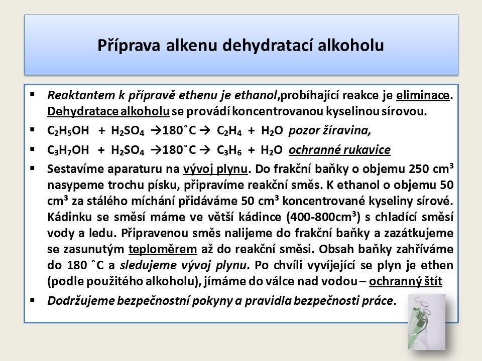 Příprava alkenu dehydratací alkoholu