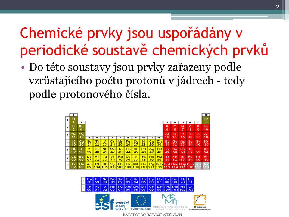 Chemické prvky jsou uspořádány v periodické soustavě chemických prvků