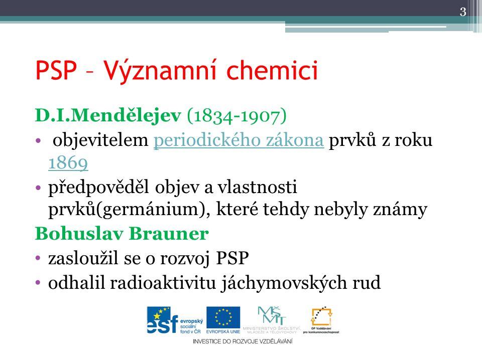 PSP – Významní chemici D.I.Mendělejev (1834-1907)